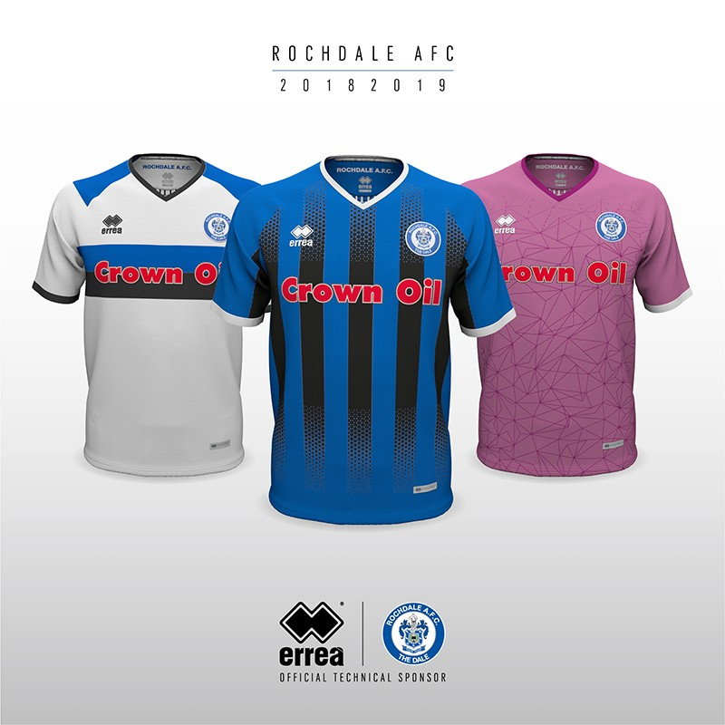 Rochdale A.F.C.'s new official kits for 2018-2019 from Erreà Sport are both spirited and innovative