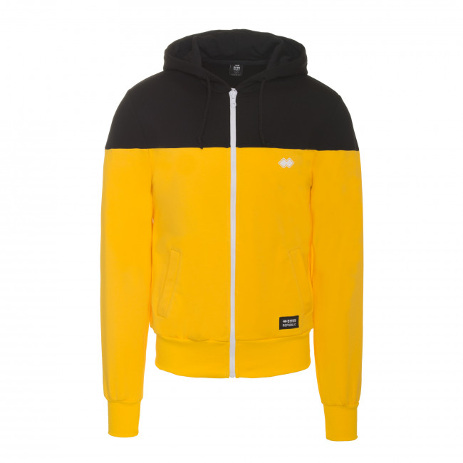 SPORT FUSION FW18/19 MAN FULL ZIP COL. BLOCK SWEAT JR NERO GIALLO - REPUBLIC
