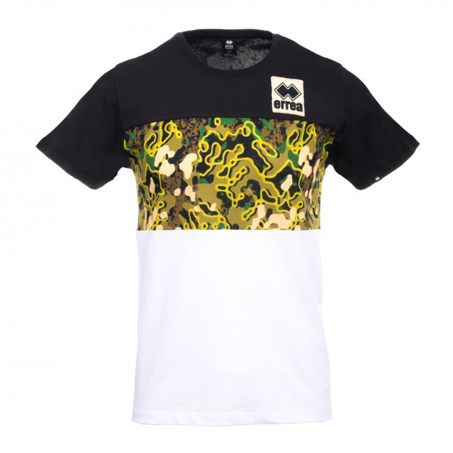 SPORT FUSION FW19/20 MAN PATCH MILITARY T-SHIRT JR NERO MILITARY PRINT BIANCO - REPUBLIC